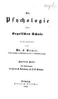Die Psychologie der Hegelschen Schule beurtheilt von F  Exner  2 Hefte   Heft 2  Die Erwiderungen der Herren K  Rosenkranz und J  E  Erdmann    PDF