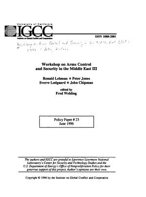 Workshop on Arms Control and Security in the Middle East III PDF