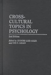 Cross Cultural Topics In Psychology Book PDF