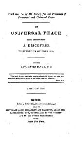On Universal Peace: Being Extracts from a Discourse Delivered in October 1813