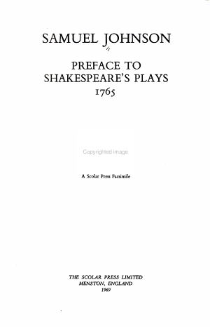 Preface to Shakespeare s Plays  1765 PDF