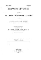 Reports of Cases Decided in the Supreme Court of the Cape of Good Hope PDF