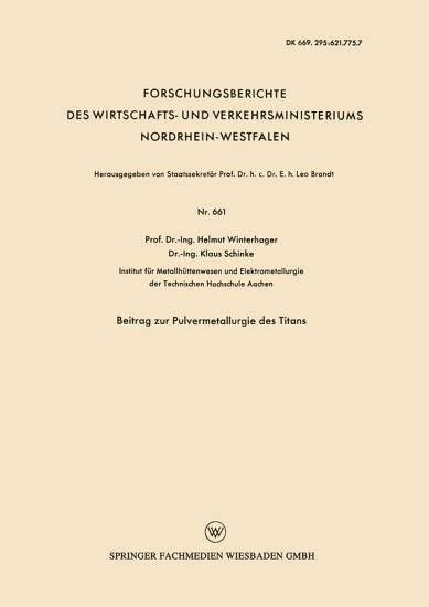 Beitrag zur Pulvermetallurgie des Titans PDF