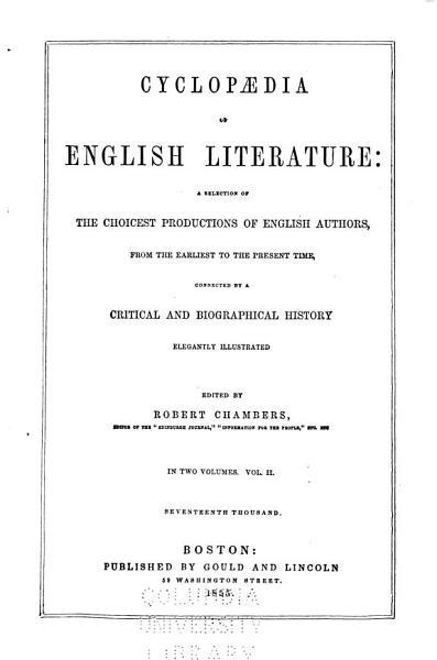 Cyclopœdia of English Literature