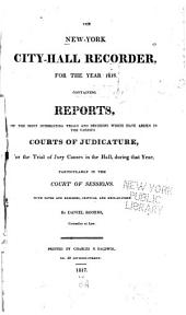 The New-York City-hall Recorder: Volume 1