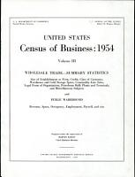 United States Census of Business  1954  Wholesale trade  summary statistics and public warehouses PDF
