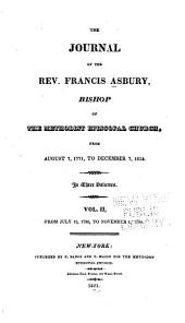 The Journal of the Rev. Francis Asbury, Bishop of the Methodist Episcopal Church: From July 15, 1786, to November 6, 1800