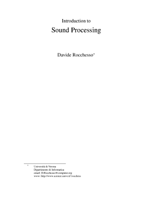 Introduction to Sound Processing