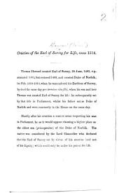 Creation of the Earl of Surrey for Life, anno 1514. [A note, with two short extracts from the House of Lords' Journal, vol. I. By Sir C. G. Young?]