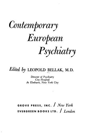 Contemporary European Psychiatry