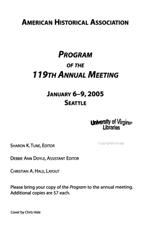 Program of the Annual Meeting - American Historical Association