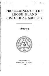 Publications of the Rhode Island Historical Society: Volume 1