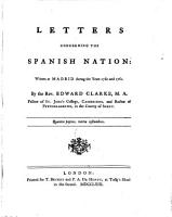Letters Concerning the Spanish Nation  Written at Madrid During the Years 1760 and 1761 PDF