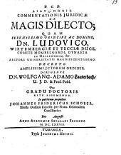 Diatypōsis Commentationis Iuridicae De Magis Dilecto