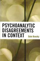 Psychoanalytic Disagreements in Context PDF