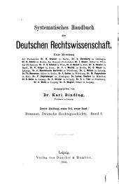Deutsche Rechtsgeschichte: Band 1