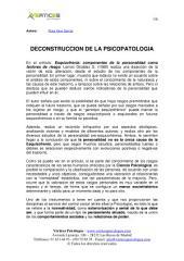 DECONSTRUCCION DE LA PSICOPATOLOGIA