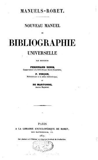 Nouveau manuel de bibliographie universelle PDF