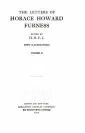 The Letters of Horace Howard Furness: Volume 2