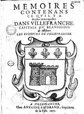 Mémoires contenans ce qu'il y a de plus remarquable dans Villefranche, capitale du Beaujolois...