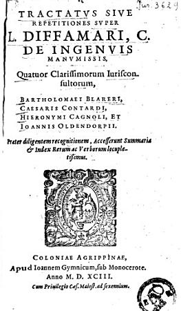 Tractatus sive Repetitiones super L  Diffamari  C  De Ingenius Manumissis PDF