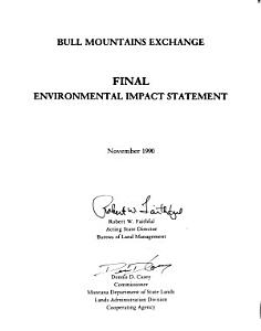 Bull Mountains Exchange of Federal Coal Lands with Meridian Minerals Company
