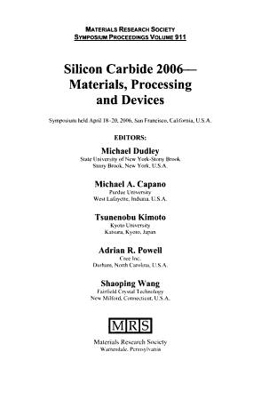 Silicon Carbide 2006  materials  Processing and Devices PDF