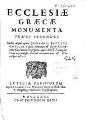 Ecclesiae graecae monumenta: tomus secundus