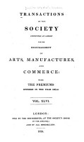 Transactions of the Society Instituted at London for the Encouragement of Arts  Manufactures  and Commerce PDF