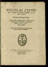 De Friderico secundo Imperatore Oratio