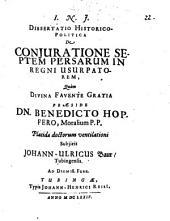 Diss. ... de coniuratione septem Persarum in regni usurpatorem