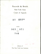 Records & Briefs New York State Court of Appeals
