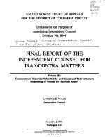 Final Report of the Independent Counsel for Iran/Contra Matters: Comments and materials submitted by individuals and their attorneys responding to volume 1 of the final report