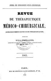 Revue de thérapeutique médico-chirurgicale: Volume1863