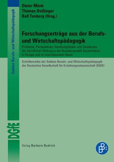 Forschungsertr  ge aus der Berufs  und Wirtschaftsp  dagogik PDF