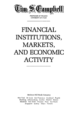 Financial Institutions  Markets  and Economic Activity PDF