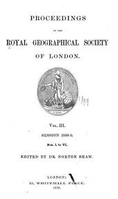 Proceedings of the Royal Geographical Society of London: Volume 3; Volumes 1858-1859