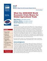 What the 2008 2009 World Economic Crisis Means for Global Agricultural Trade PDF