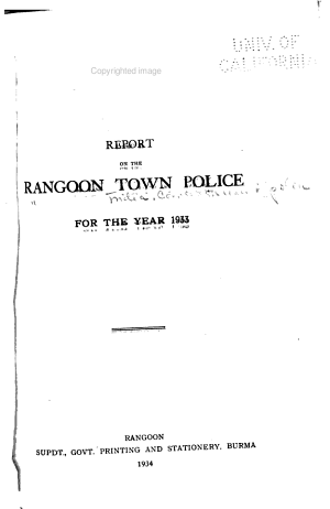 Report on the Rangoon Town Police