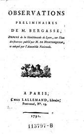 Observations preliminaires sur l'etat des Finances publie par M. de Montesquiou (etc.)