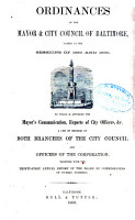 ORDINANCES AND RESOLUTINS OF THE MAYOR AND CITY COUNCIL OF BALTIMORE PDF