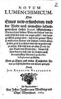 Novum lumen chemicum  Oder eines new erfundenen und der Weldt noch niemahlen bekantgemachten hohen Secreti Offenbahrung  usw PDF