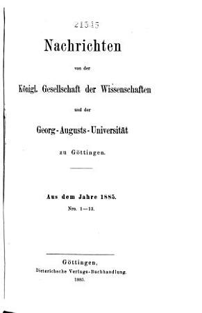 Nachrichten von der K  nigl  Gesellschaft der Wissenschaften und der Georg Augusts Universit  t zu G  ttingen PDF