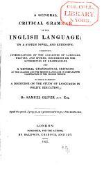 A General Critical Grammar of the Inglish Language