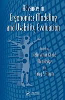 Advances in Ergonomics Modeling and Usability Evaluation PDF