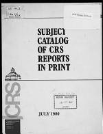 Subject Catalog of CRS Reports in Print PDF