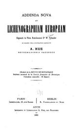 Addenda nova ad lichenographiam Europæam