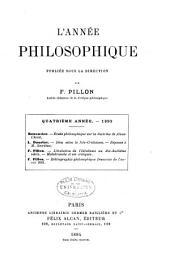 L'Annee Philosophique: Volume4