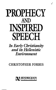 Prophecy and Inspired Speech in Early Christianity and Its Hellenistic Environment PDF