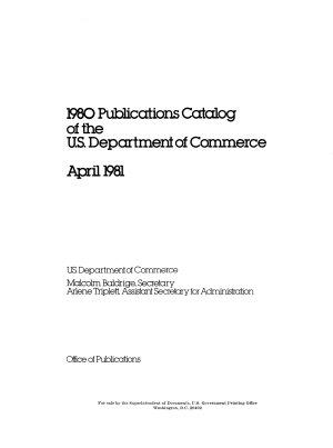 Publications Catalog of the U S  Department of Commerce PDF